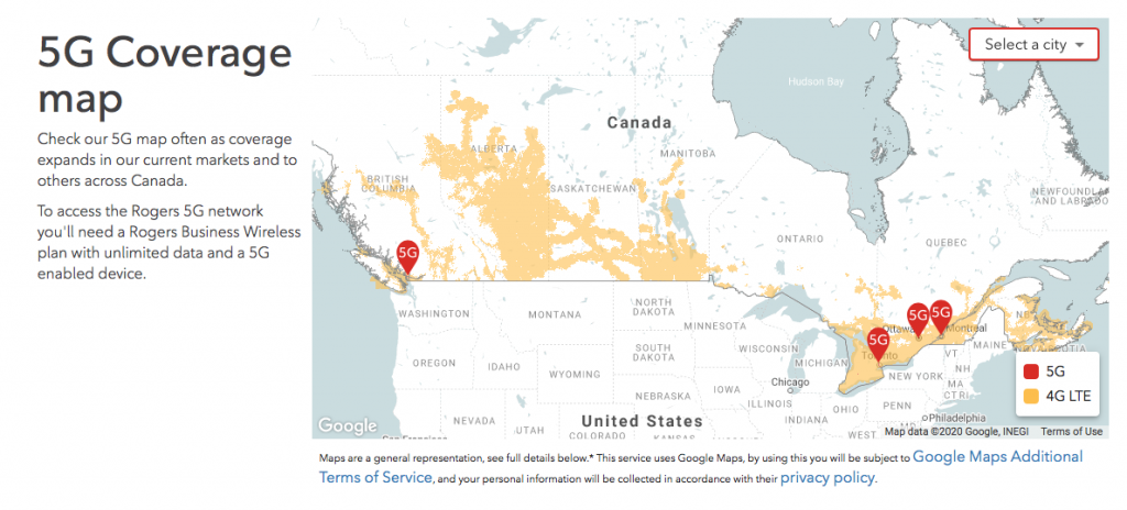 Maps of 5G Coverage Areas in Canada « EMR Health Alliance